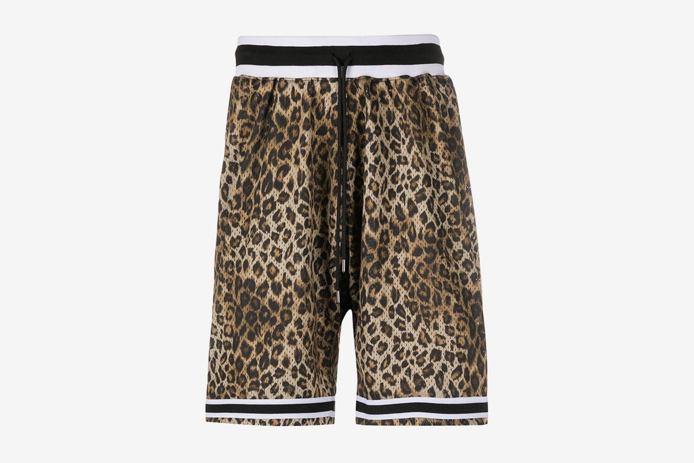 Leopard-Print Mesh Shorts