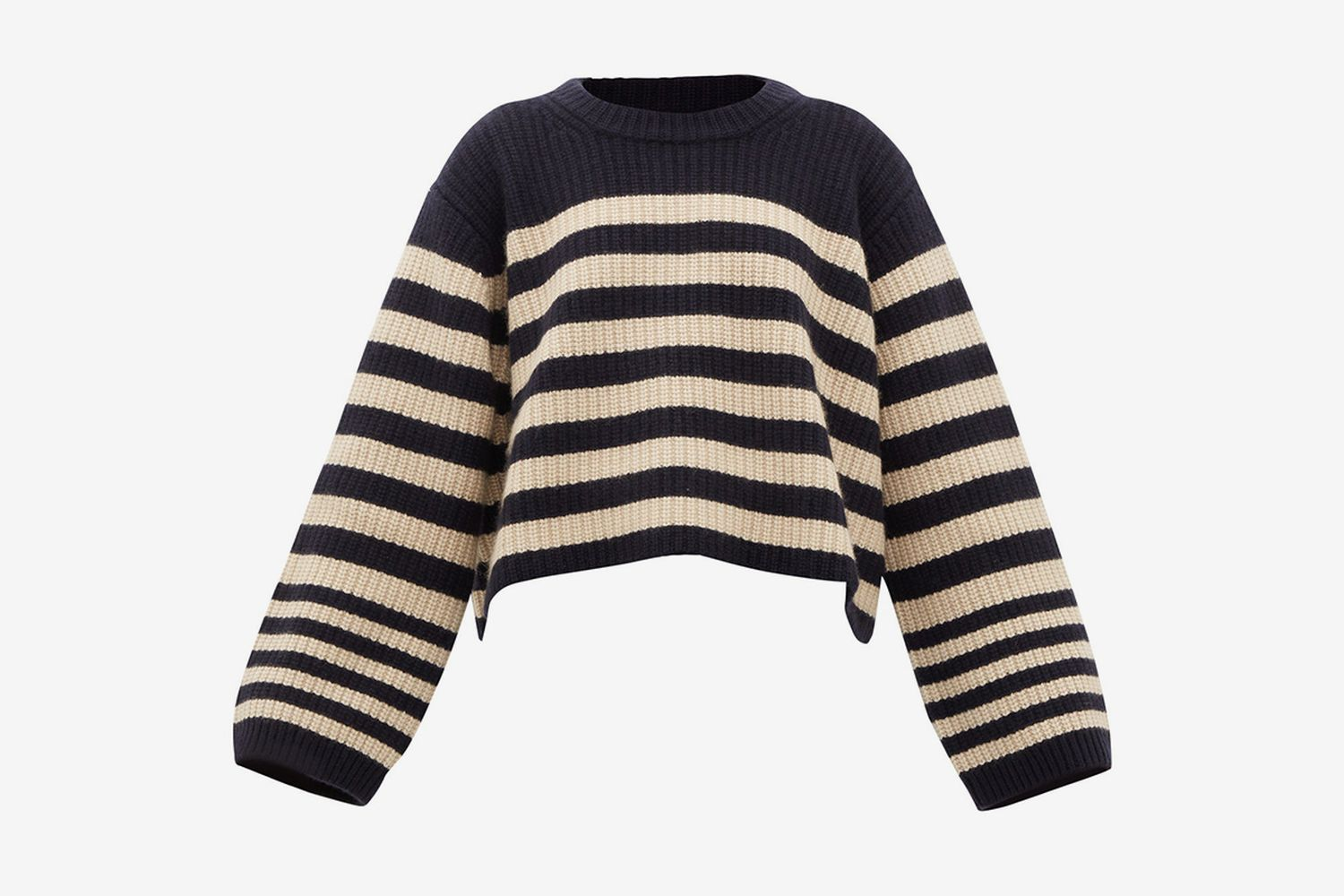 Dotty Cropped-hem Striped Cashmere Sweater