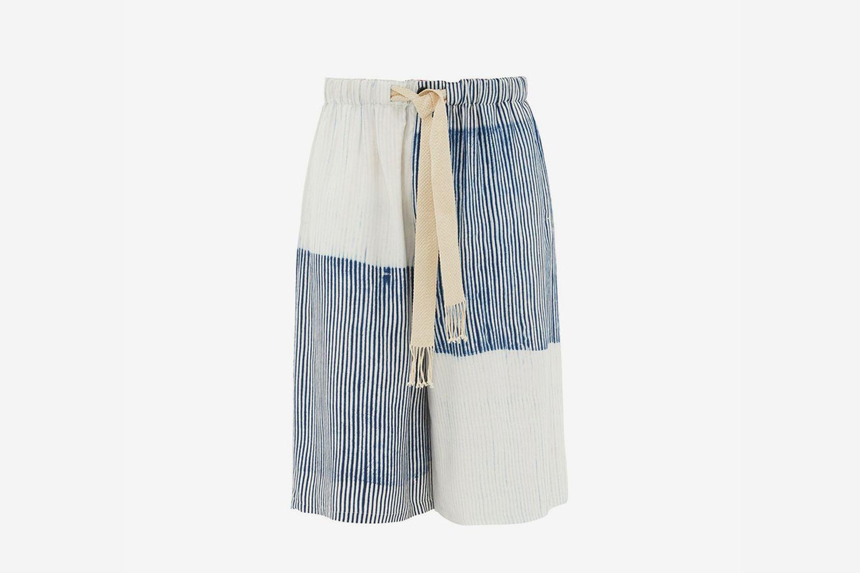 Drawstring-Tie Pinstriped Satin Shorts