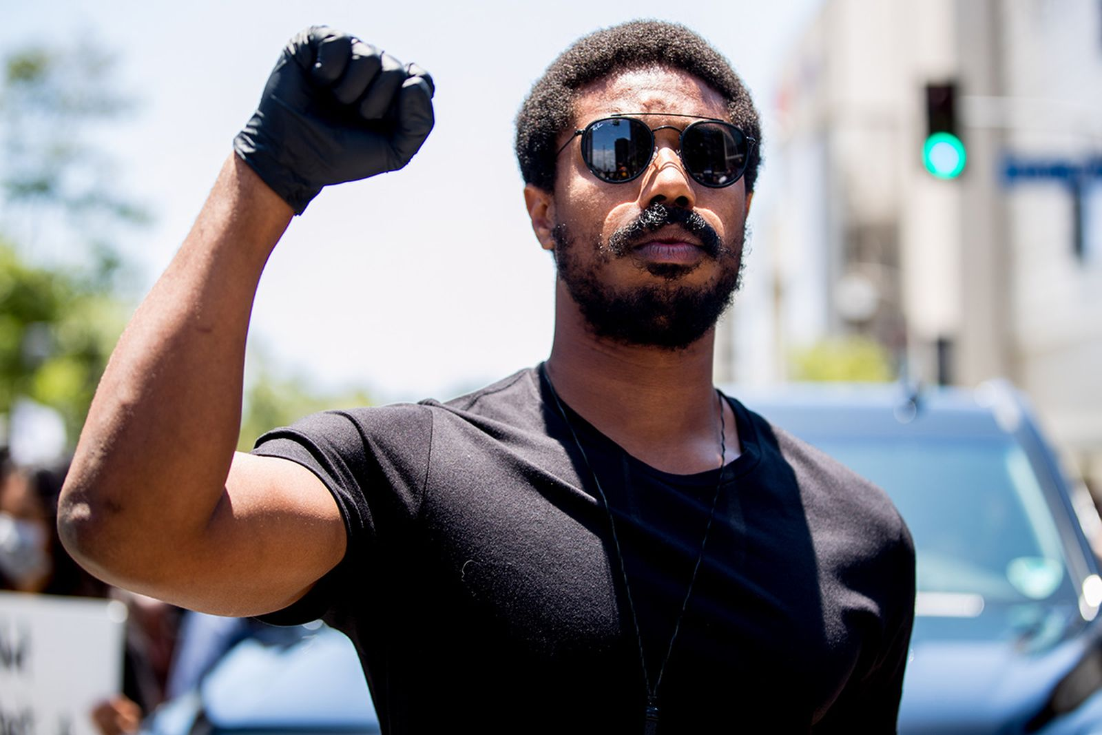 Michael B. Jordan participates in the Hollywood talent agencies march to support Black Lives Matter