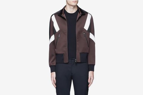 Colorblock Blouson Satin Jacket