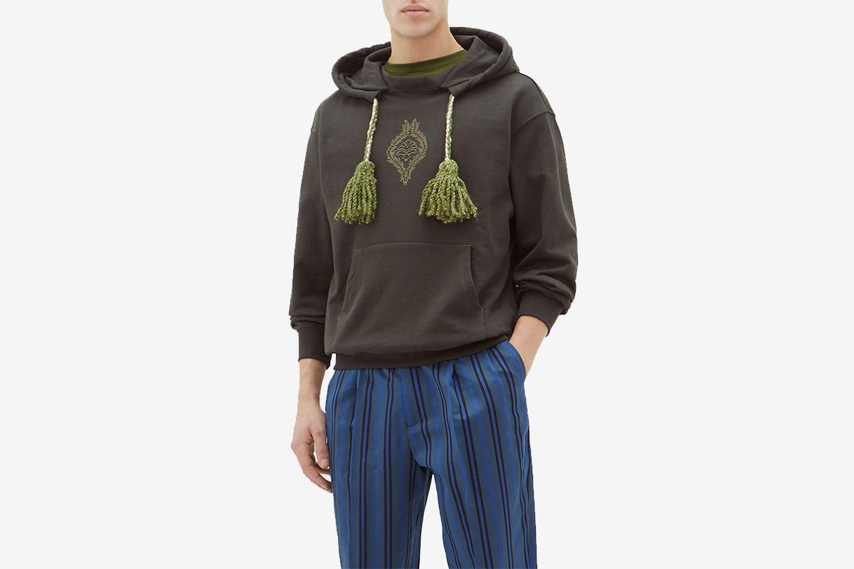 Tasselled-Drawstring Hooded Cotton Sweatshirt