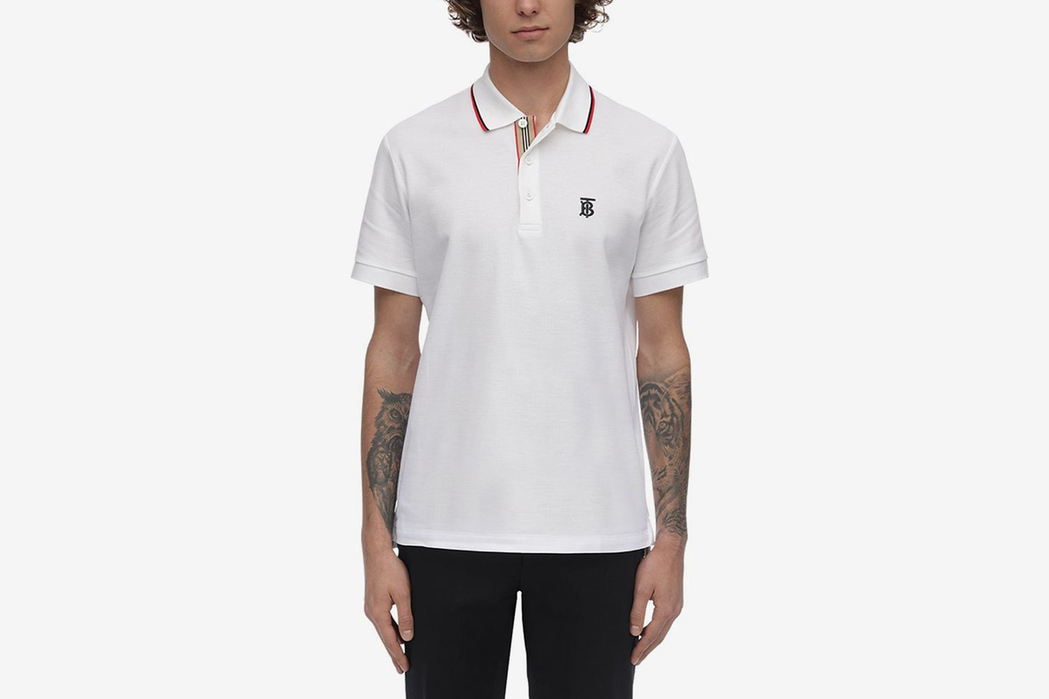 Tb Logo & Icon Stripe Cotton Piqué Polo