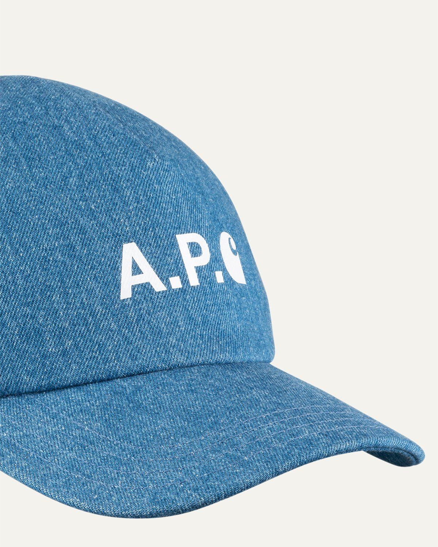 A.P.C. x Carhartt WIP - Cameron Baseball Cap Indigo - Image 4