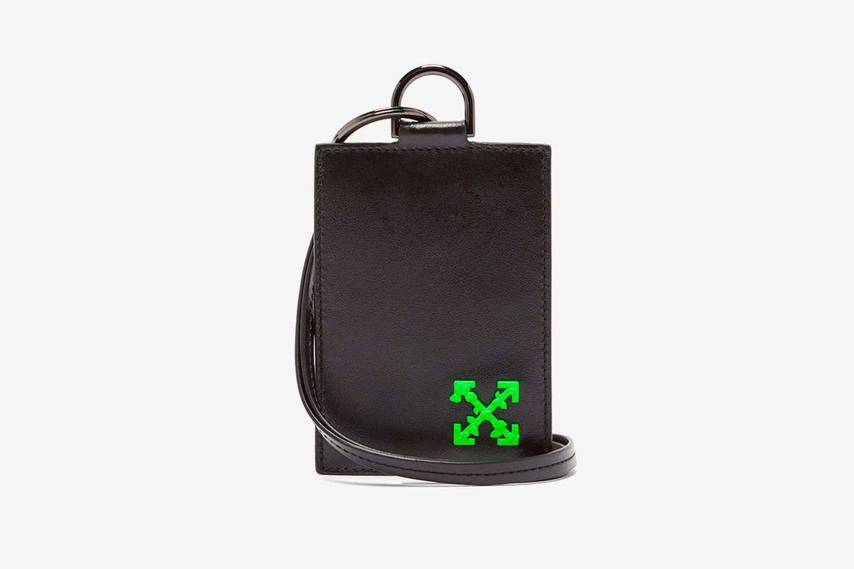 Logo Leather Cardholder Lanyard
