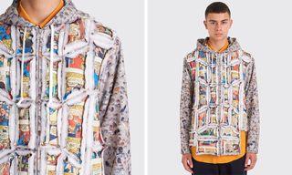 COMME des GARÇONS HOMME Plus Drops a Multicolored Printed Patchwork Jacket