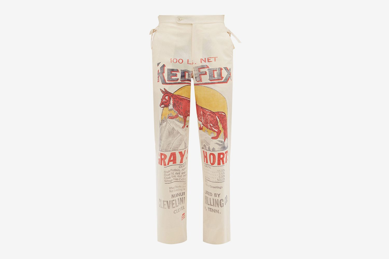 Grain Sack Print Cotton Canvas Trousers