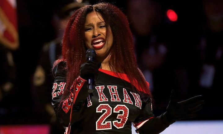 Chaka Khan singing the National Anthem at the 2020 NBA All-Star Game in Chicago