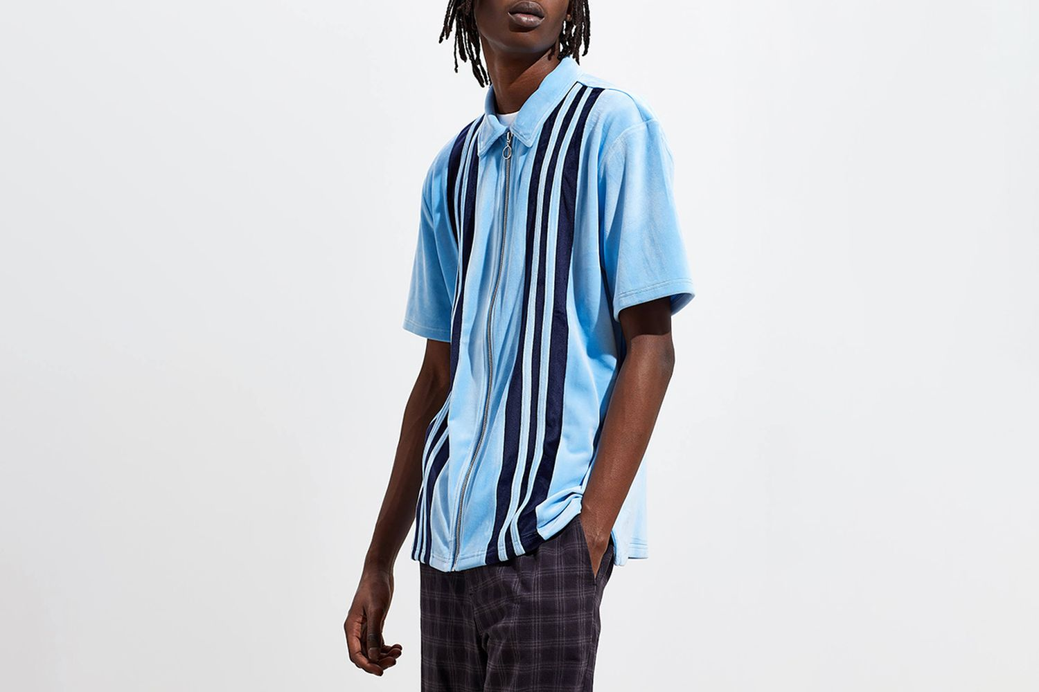 Velour Panel Short Sleeve Zip Shirt