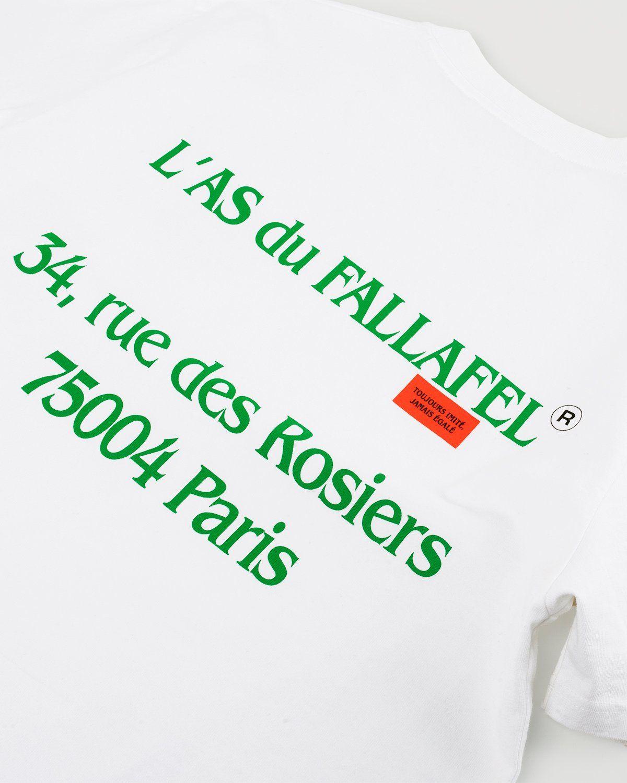 Highsnobiety x L'AS du FALLAFEL — rue des Rosiers T-Shirt White - Image 5