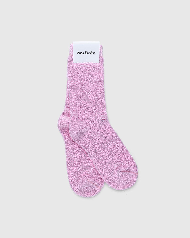 Acne Studios – Cotton Logo Socks Pink - Image 1