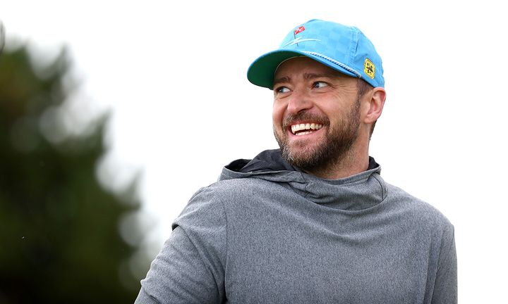 Justin Timberlake reacts during Day one of the Alfred Dunhill Links Championship
