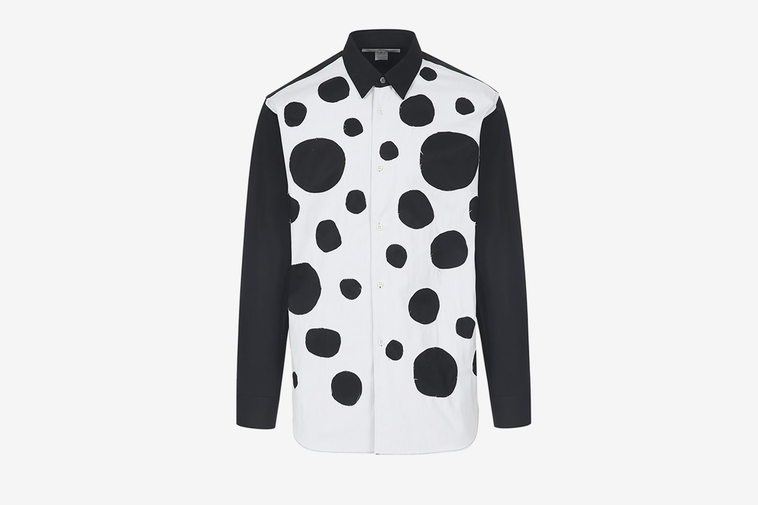 Contrasting Circle Cut-Out Patch Shirt