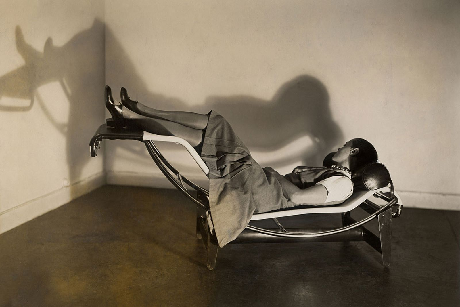 Charlotte perriand on a chaise longue