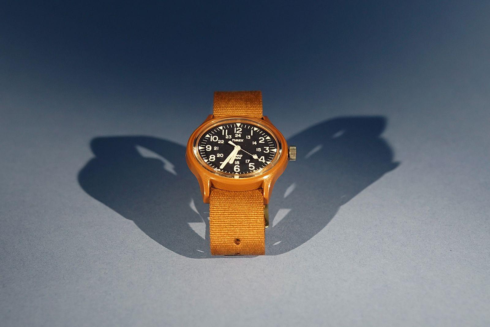 ymc timex mk1 watch burnt rubber brown