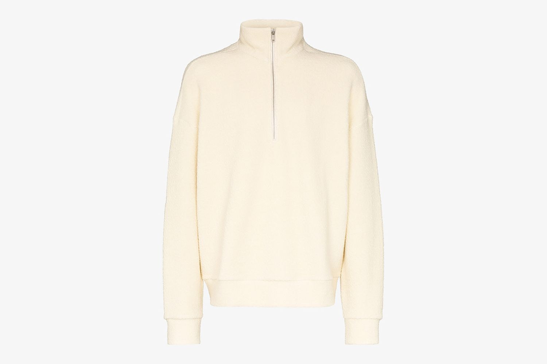 Zipped Wool Blend Sweater