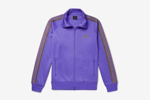 Glittered Webbing-Trimmed Track Jacket