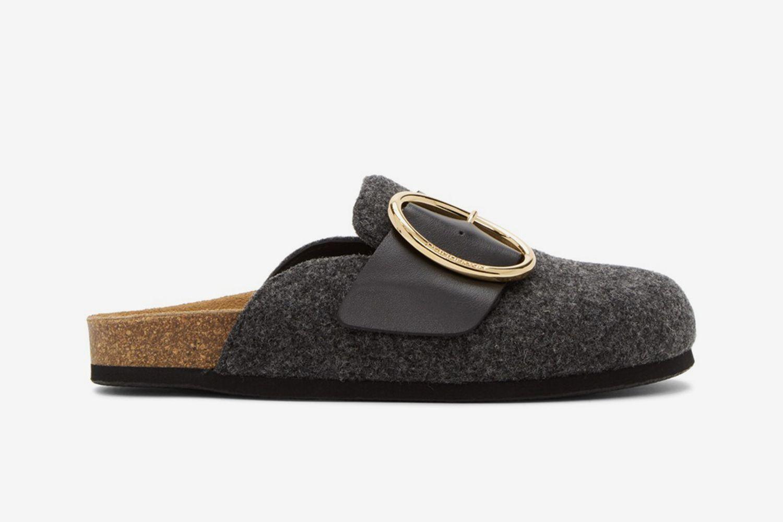 Felt Buckle Slipper Loafers