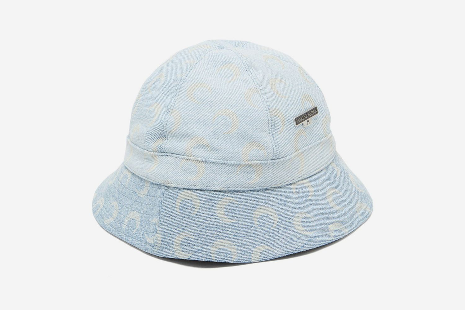 Crescent Moon-Print Denim Bucket Hat