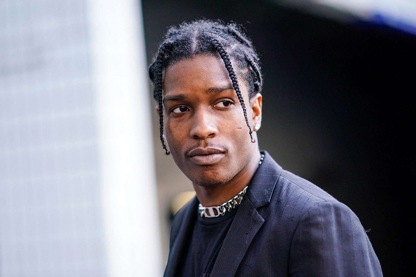 ASAP Rocky outside of 1017 ALYX 9SM's show at Paris Fashion Week