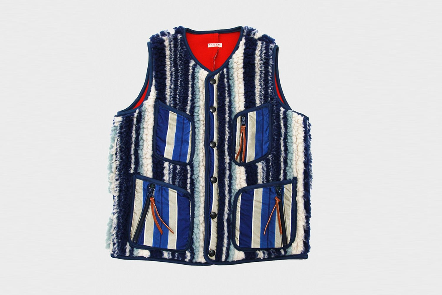 Primal Stripe Bonding Fleecy Beach Vest