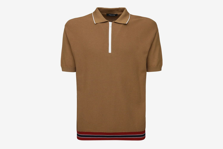 Zipped Cotton Polo