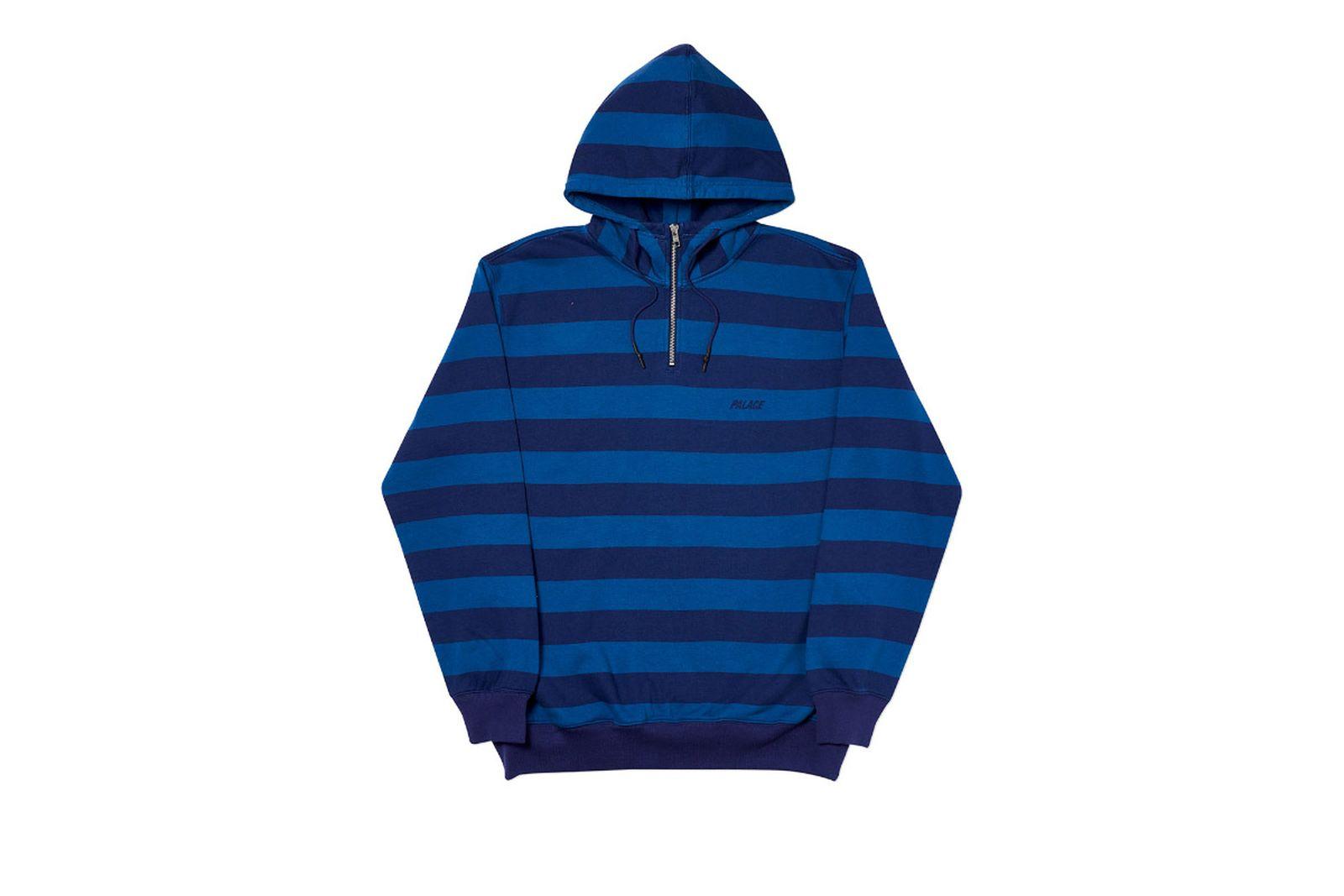 Palace 2019 Autumn Hood Tri Stripe Zip Blue Front