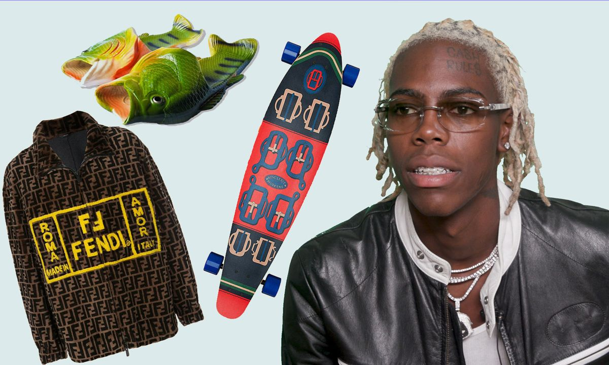 Yung Bans Plays 'Cop or Drop' With Life-Size Transformer, Hermès Longboard, & Fish Slippers