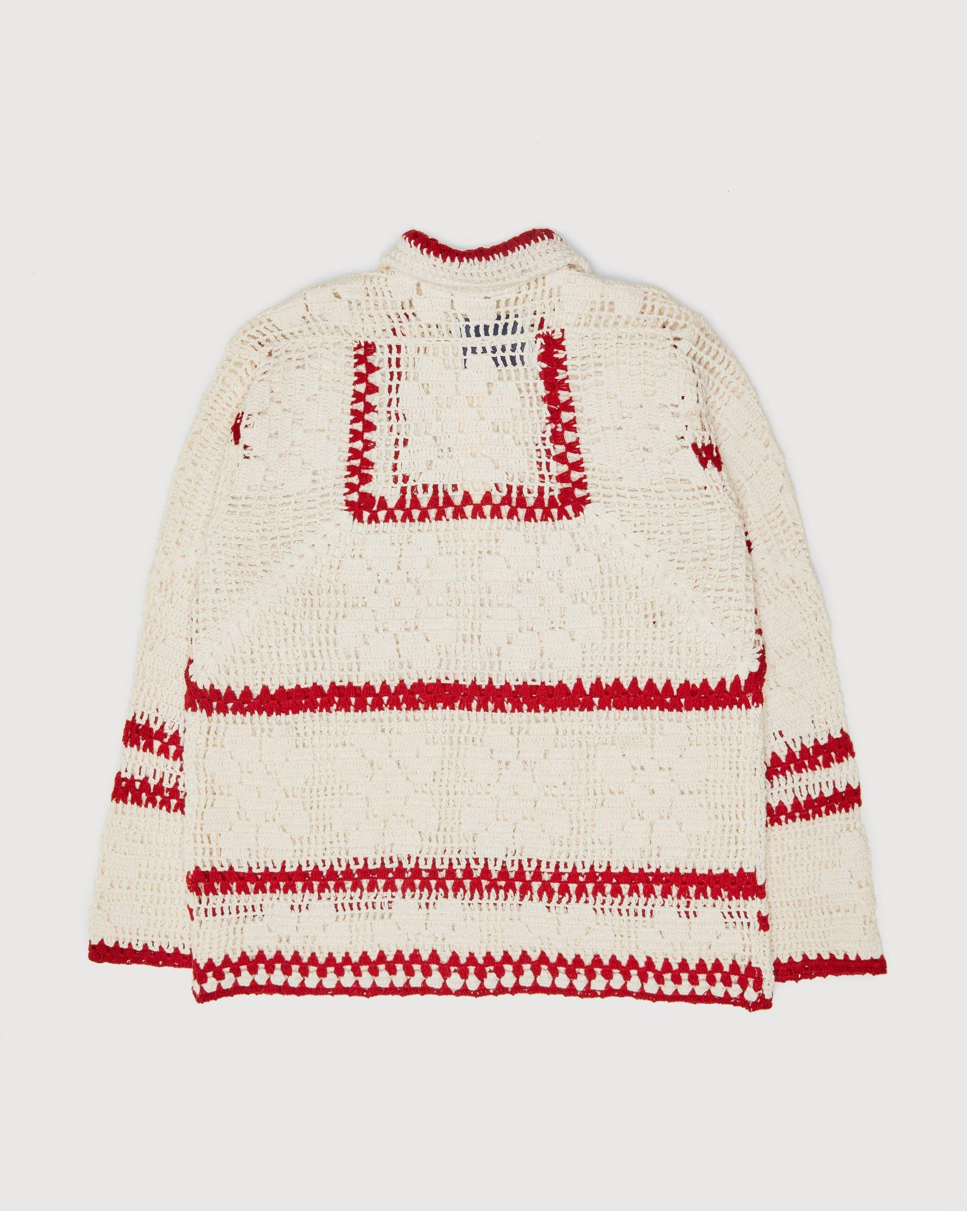 BODE - Mockneck Crochet Pullover White Red - Image 2