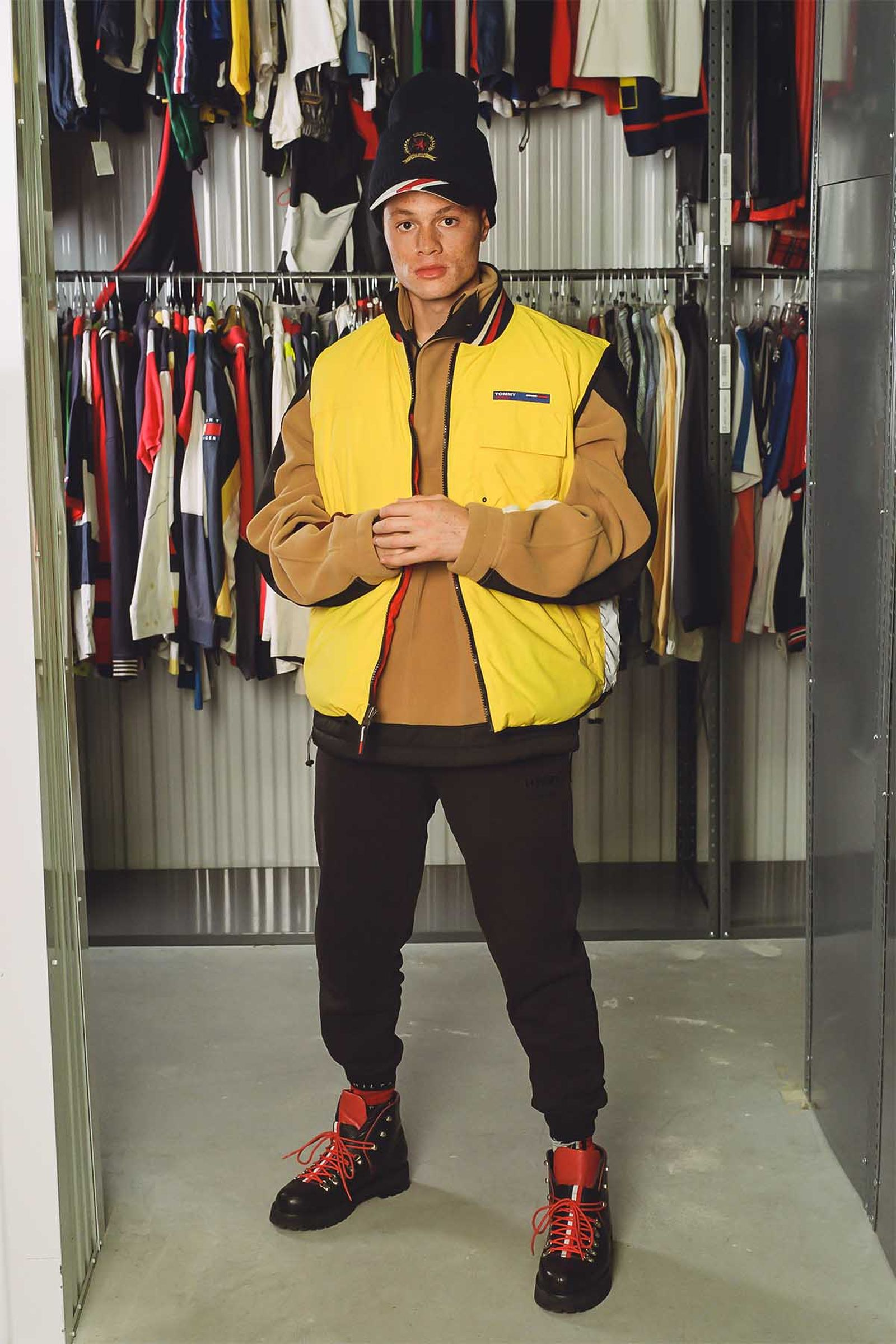 Tommy Jeans Reversible Quilted Vest (Late 2000s), Hilfiger Collection Men's Crest Polar Fleece Sweatshirt  and Crest Classic Knitted Hat (Fall 2020), Tommy Jeans Men's Organic Cotton Sweatpant (Fall 2020), Tommy Hilfiger Collection Leather Boots (Fall 2018), Tommy Hilfiger X KITH Cotton Baseball Hat (SS19)