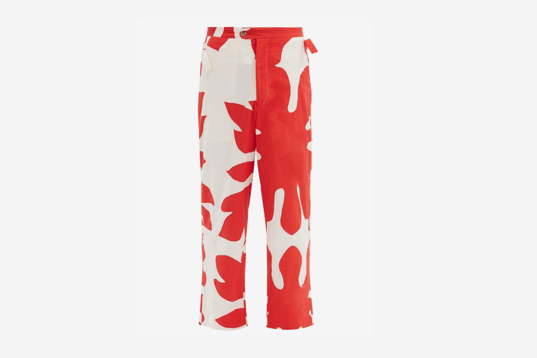 Floral Cutout Appliqué Trousers