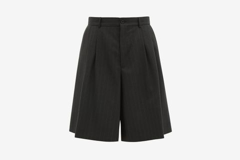 Oversized Pinstripe Virgin Wool Shorts