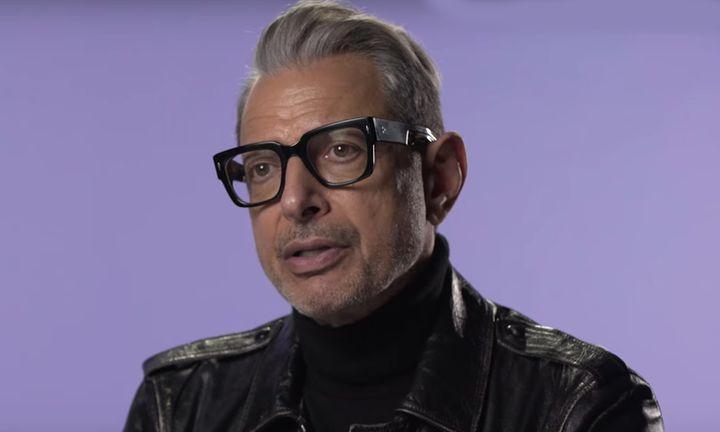 Jeff Goldblum glasses leather jacket