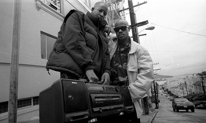 dj premier and mc guru boom box black and white