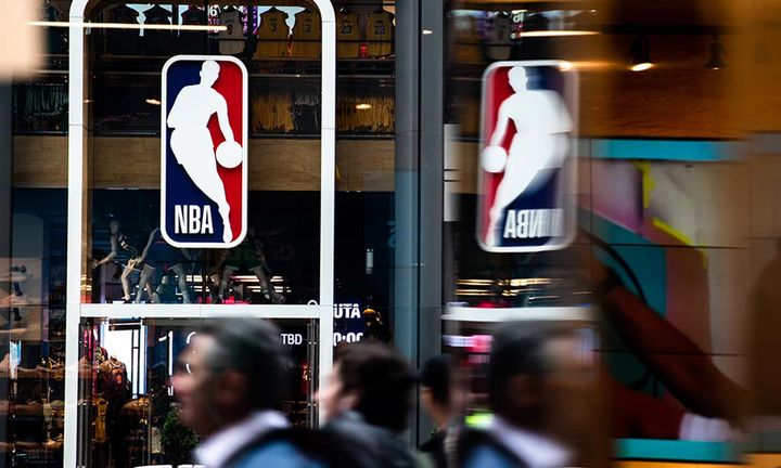 An NBA logo is shown at the 5th Avenue NBA store