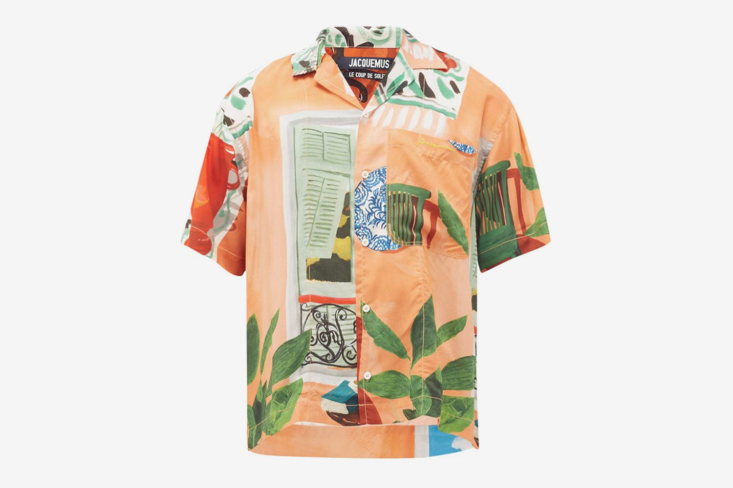 Jean Cuban-Collar Painting-Print Crepe Shirt