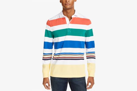 Men's Roadmap Striped Rugby Long Sleeve Shirt, Created For Macy's