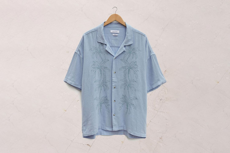 Embroidered Linen Button-Down Shirt