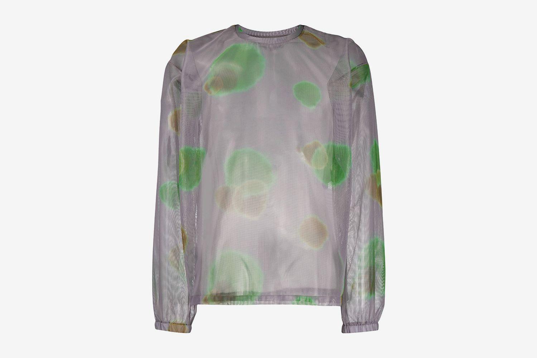 Abstract-Print Mesh Shirt