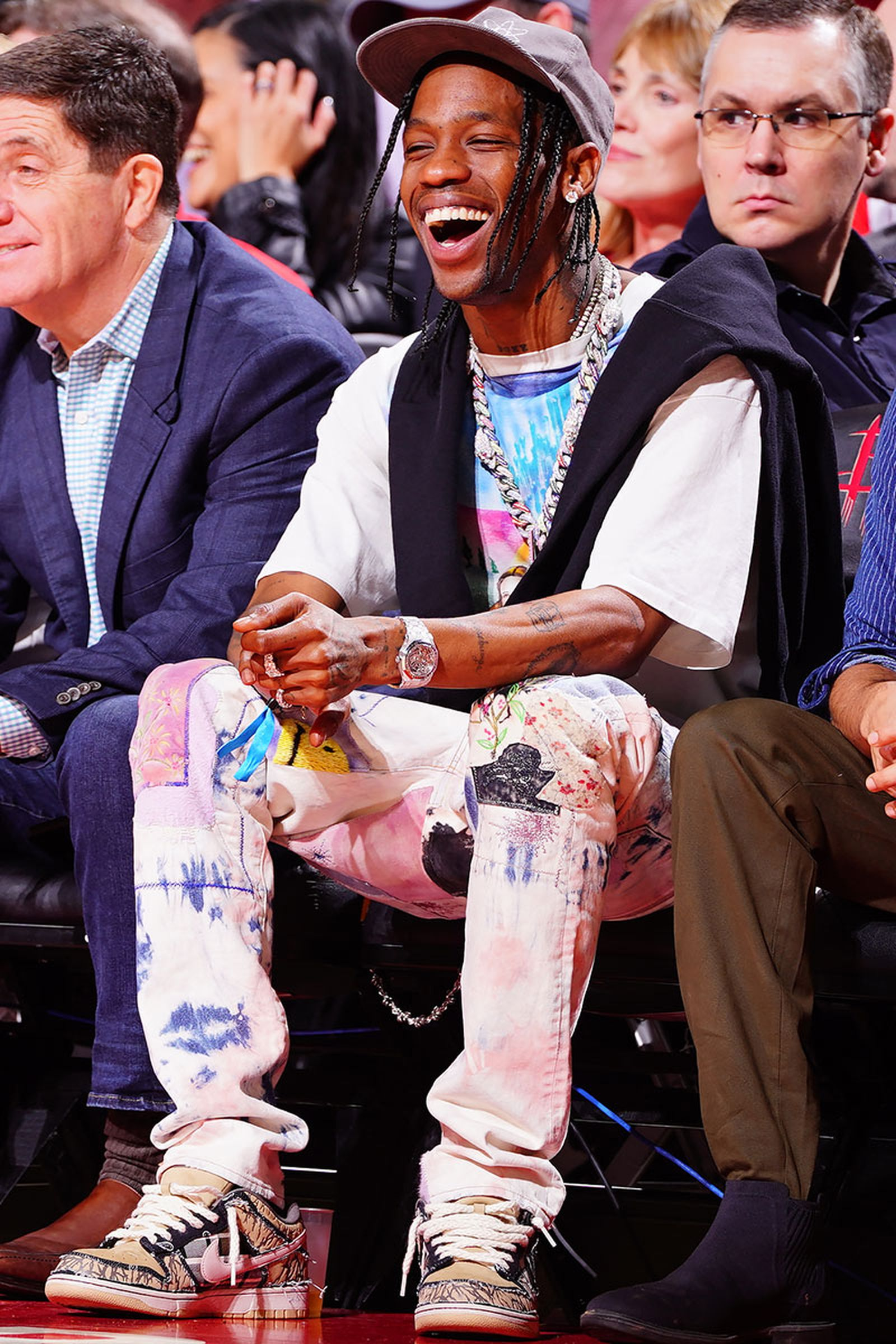 Travis Scott attends a game between the Houston Rockets and the Los Angeles Lakers