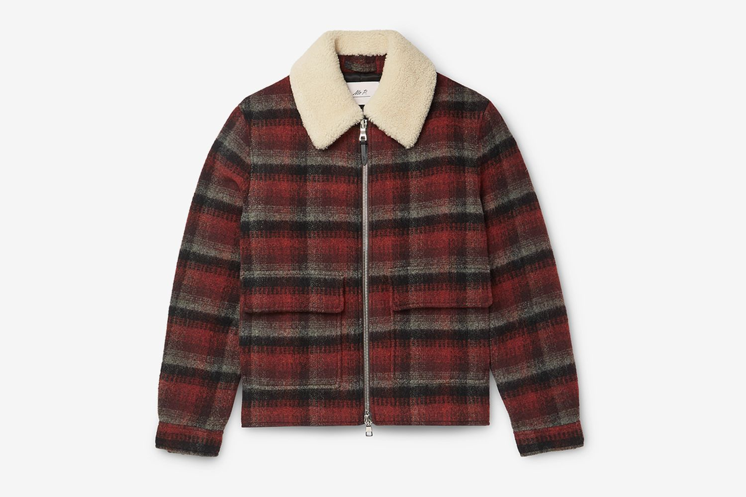 Shearling-Trimmed Checked Wool Jacket