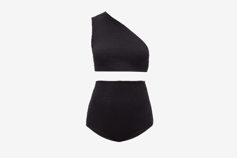 Asymmetric High-Rise Crinkled Bikini