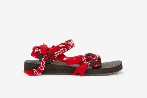 Trekky Bandana-Wrapped Velcro-Strap Sandals