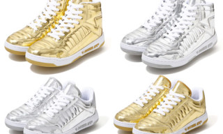 A Bathing Ape Bapesta88 Metallic Silver & Gold