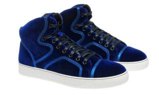 Lanvin Blue Velvet High Top Sneaker