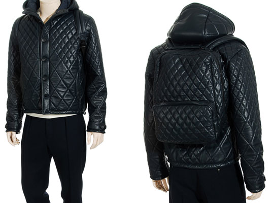 H By Harris Quilted Leather Jacket With Attached Backpack