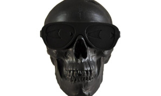 Michael Leon Rubber Coated Skull Sculpture