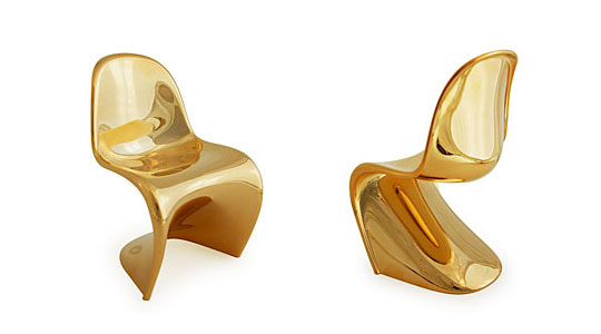 panton mini chair limited edition gold metallic highsnobiety. Black Bedroom Furniture Sets. Home Design Ideas