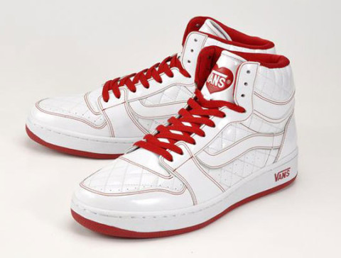 high top vans red and white