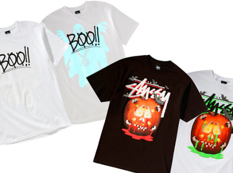 the stussy halloween 2010 tees are available now including the stock pumpkin tee and the boo tee which features a glow in the dark screenprint